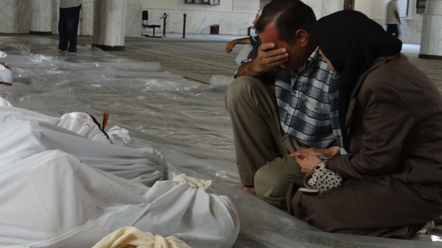 Mourners after Syria chemical attack